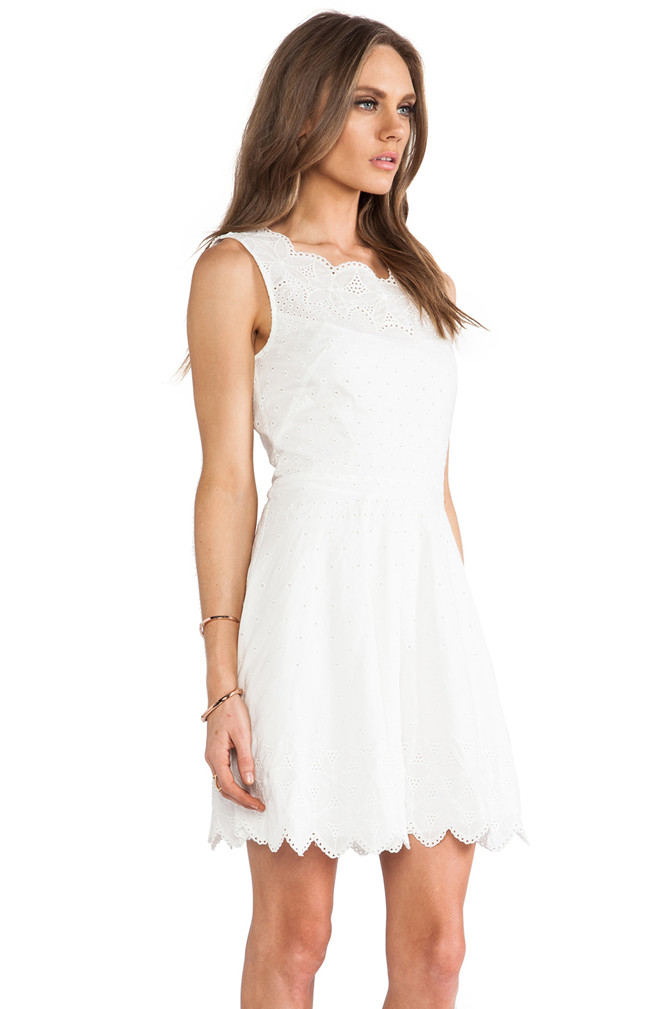 Halston Eyelet Fit Amp Flare Dress In White Lyst