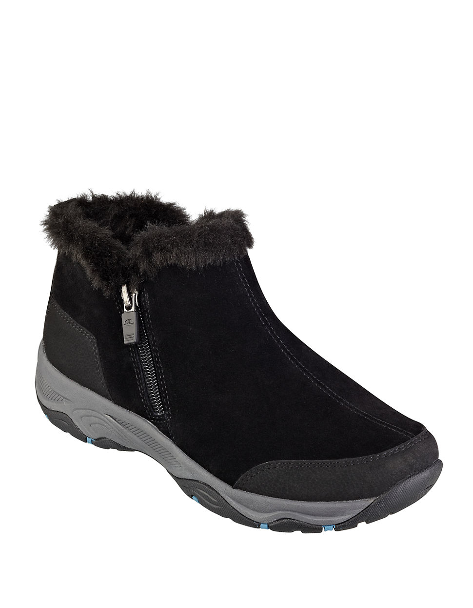 easy spirit prisco faux fur trimmed suede ankle boots in