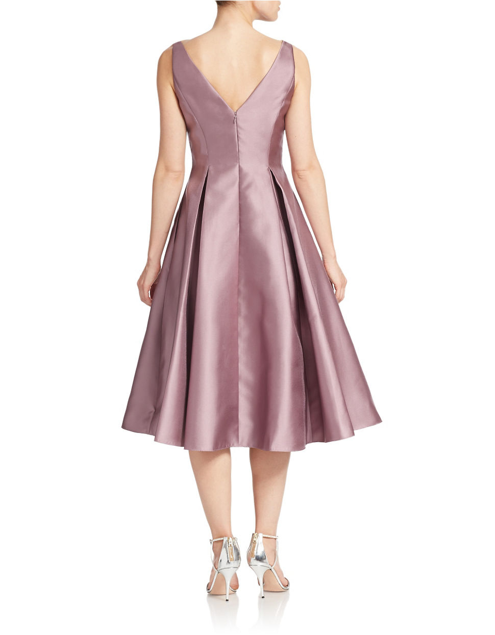 Adrianna Papell Tea Length Fit And Flare Dress In Pink Lyst