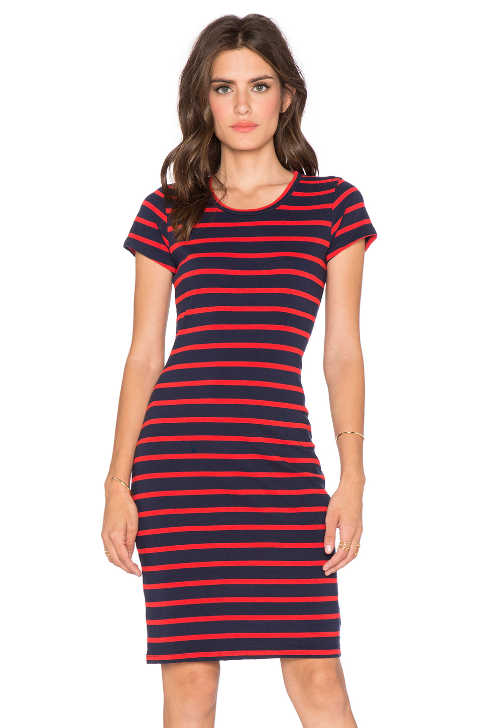 sundry short sleeve stripe dress in red  lyst