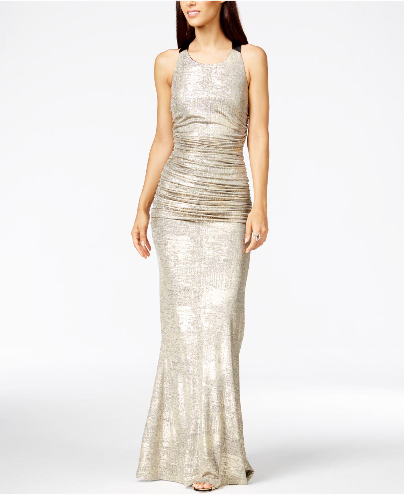 Lyst - Calvin Klein Metallic Ruched Halter Gown in Metallic