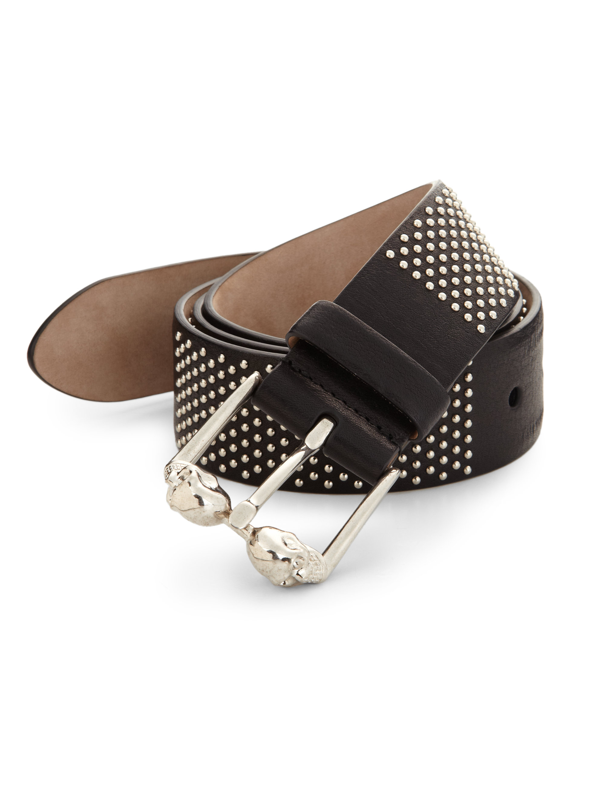 mcqueen studded leather belt in metallic for