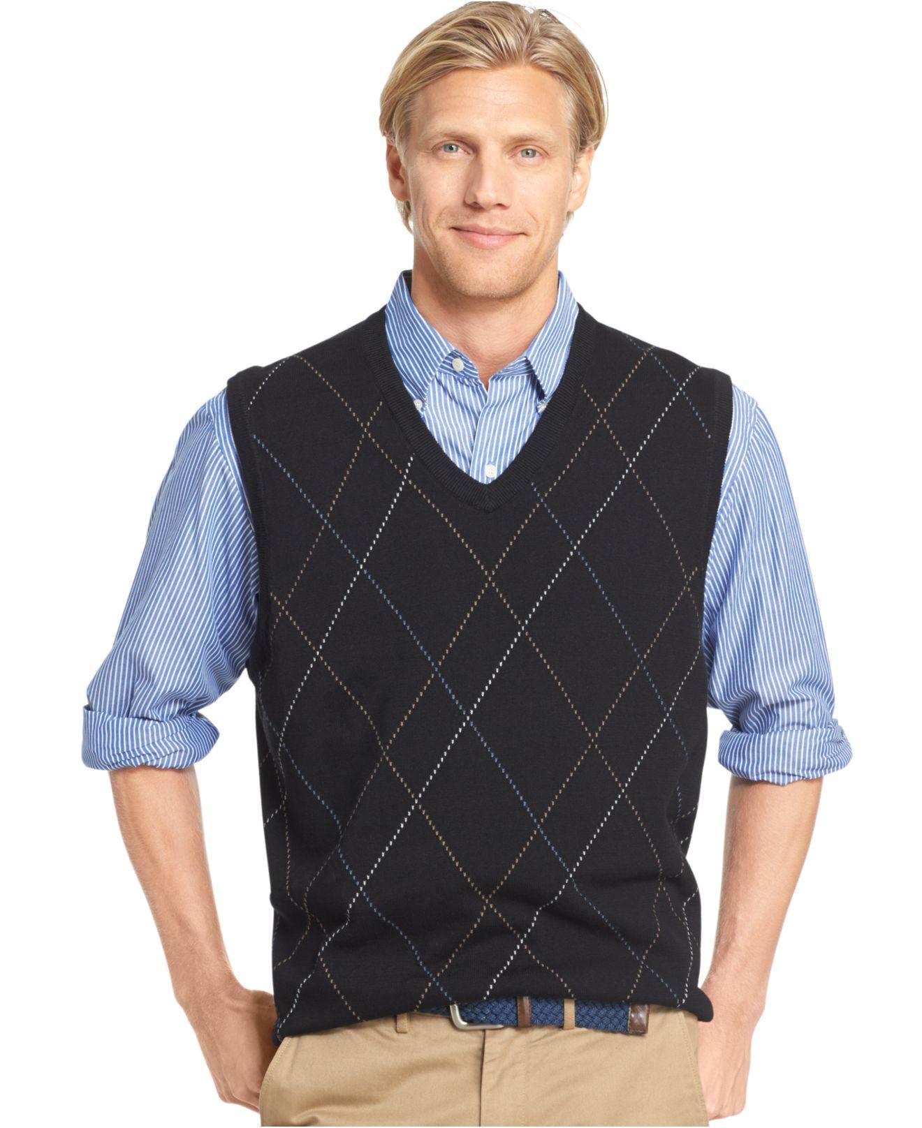 Izod Raker Pullover Sweater Vest in Black for Men | Lyst