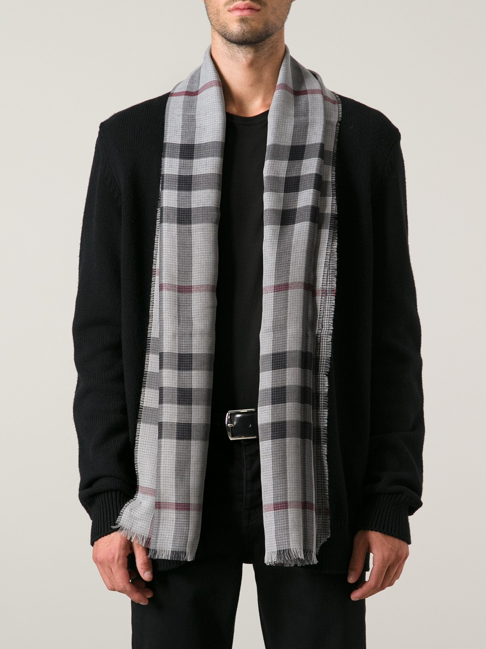 Burberry Checked Scarf In Gray For Men Lyst