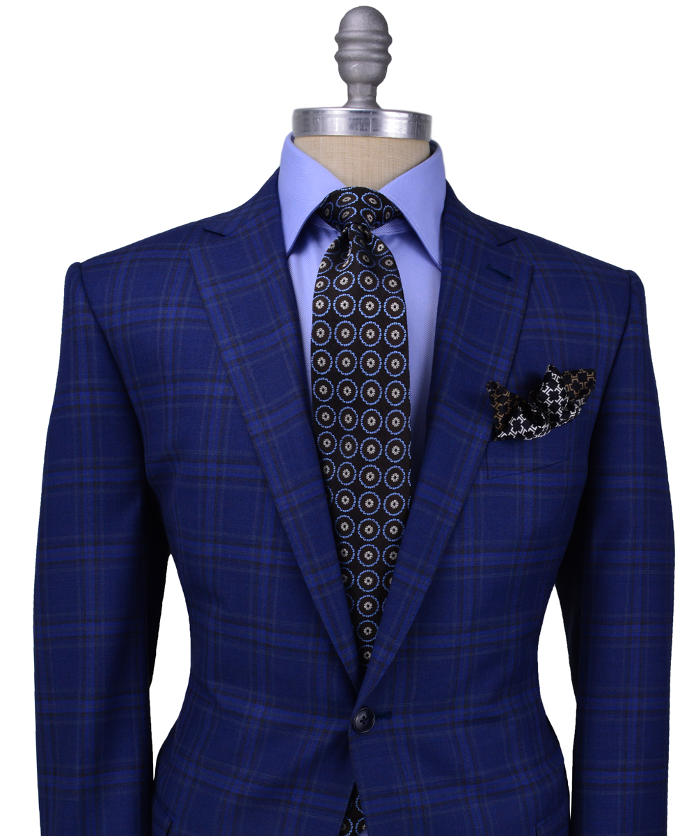 Ermenegildo Zegna Wool Bright Blue Bold Plaid Sportcoat