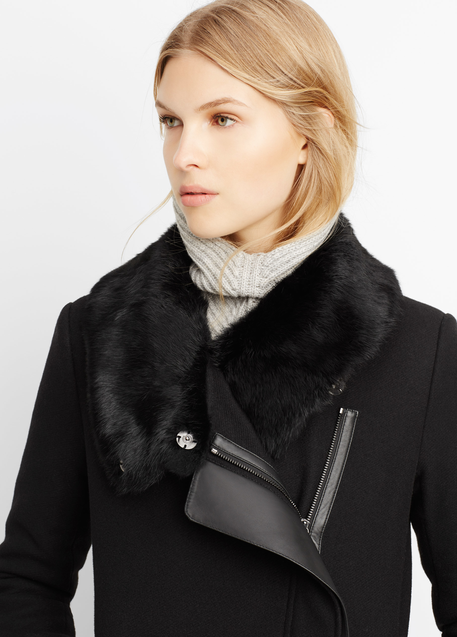 Vince Asymmetric Coat With Fur Collar in Black | Lyst