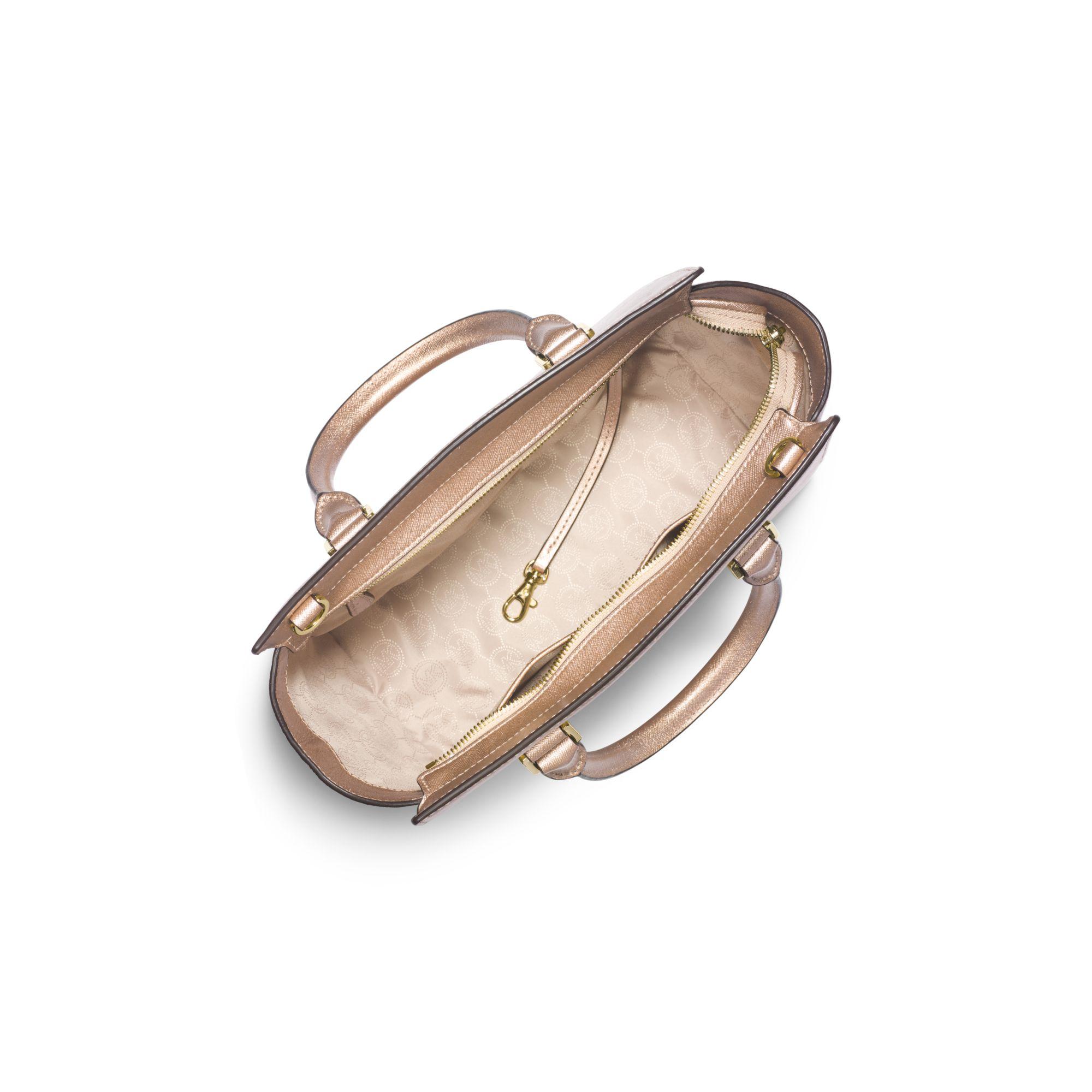 541eb879fdd8 Michael Kors Selma Medium Metallic Leather Satchel in Metallic - Lyst