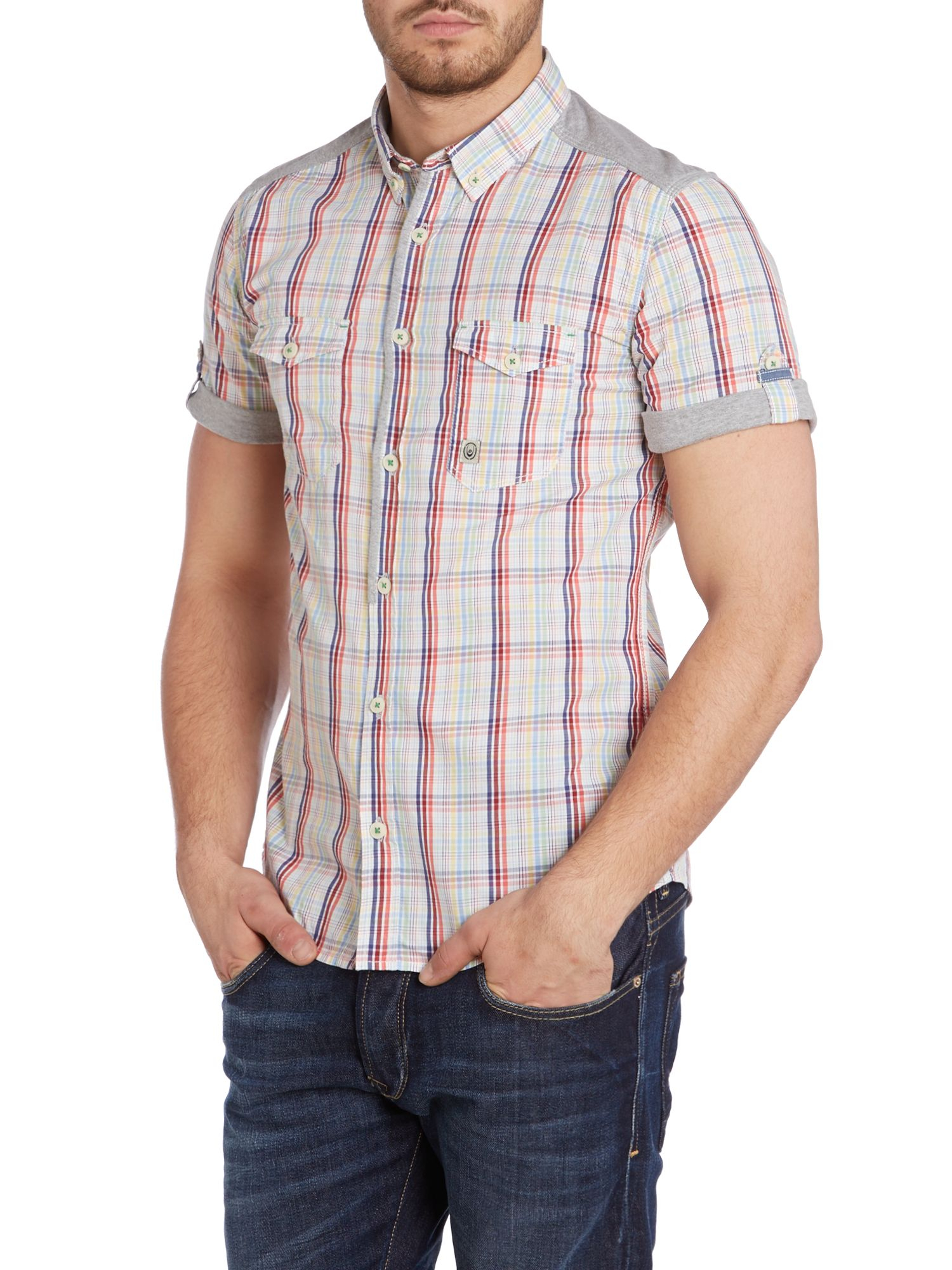 Duck and Cover Cotton Gable Check Shirt with Jersey Trim in Natural for Men
