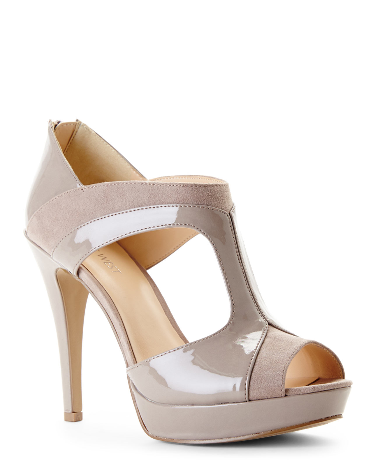 a1783e4c60e Lyst - Nine West Taupe Downtown Platform Heels in Brown