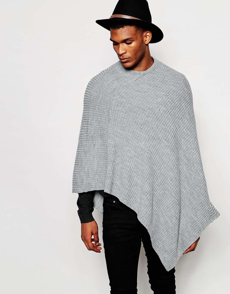 Knitting Pattern For Mens Poncho : Asos Knitted Ribbed Poncho in Gray for Men Lyst