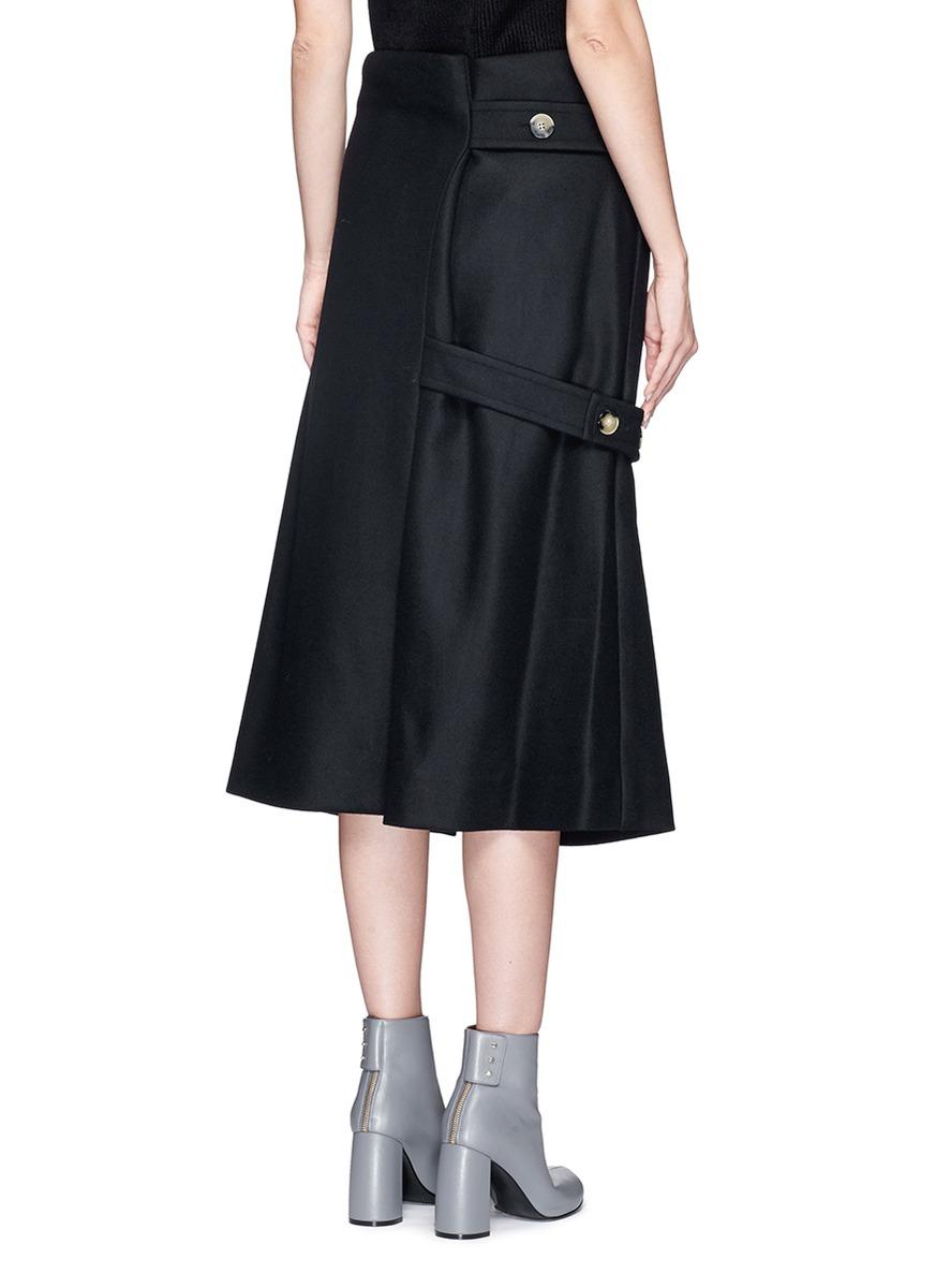 beckham asymmetric belted wool felt midi skirt in