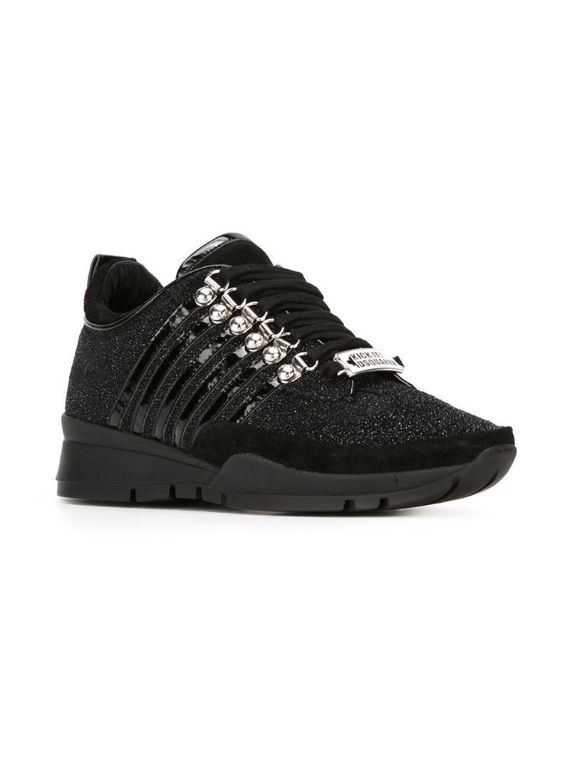 DSquared² Glitter Sneakers in Black - Lyst
