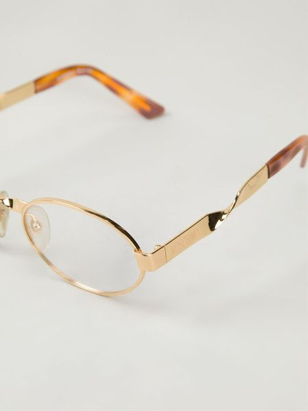 Vintage Oval Frame Glasses : Moschino Oval Frame Glasses in Brown (metallic) Lyst