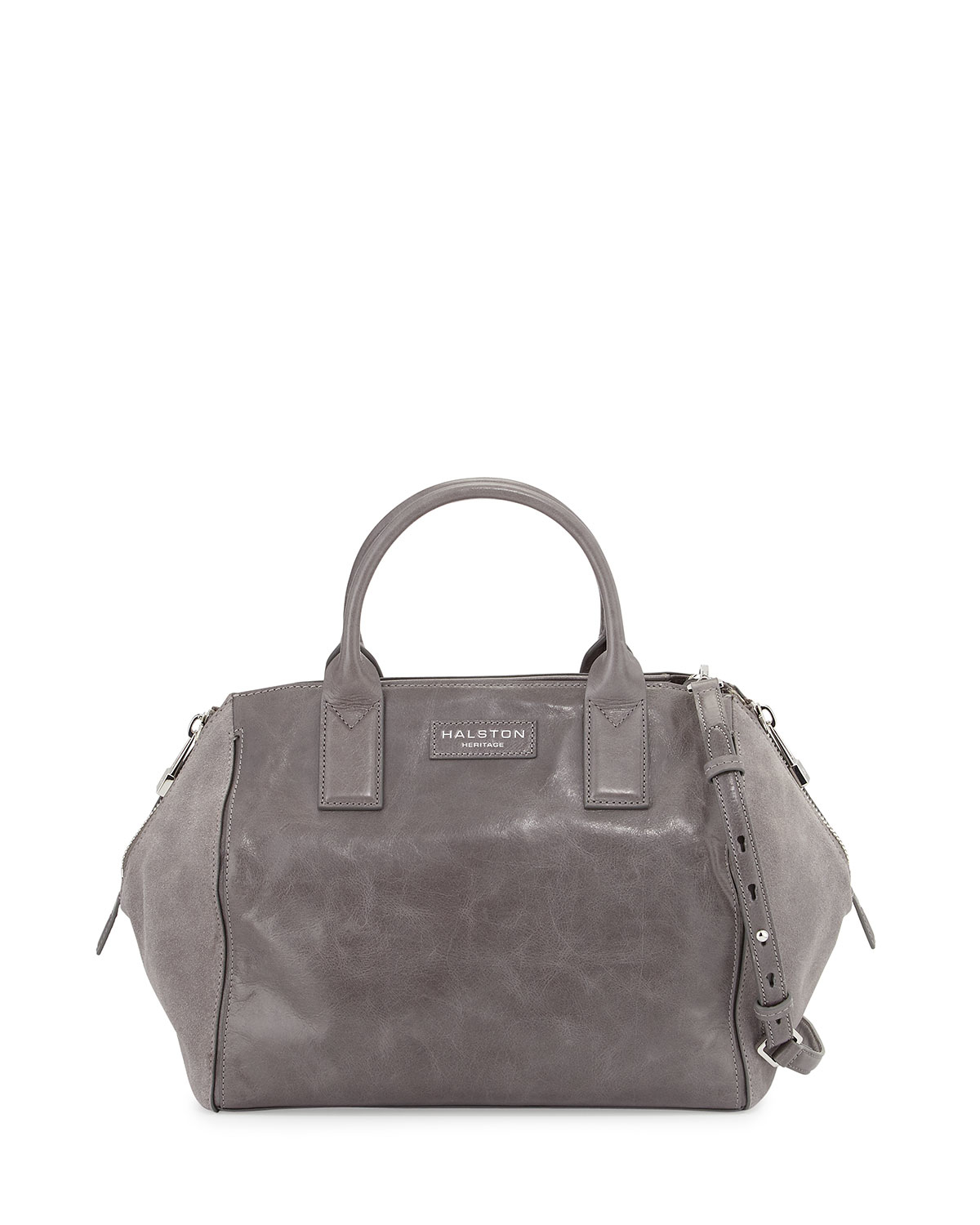 Halston Glazed Leather & Suede Satchel Bag in Gray | Lyst
