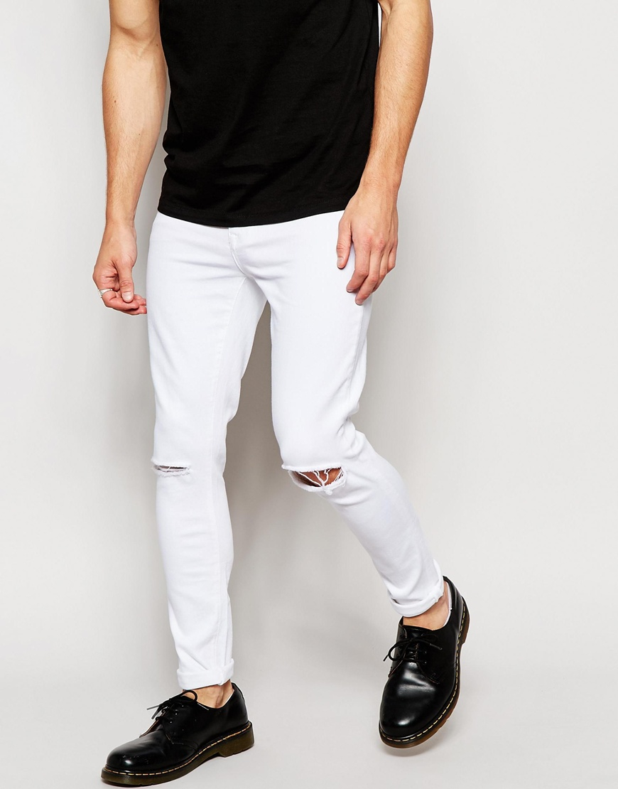 Brooklyn supply co. Jeans Super Skinny Fit White Ripped Knee in