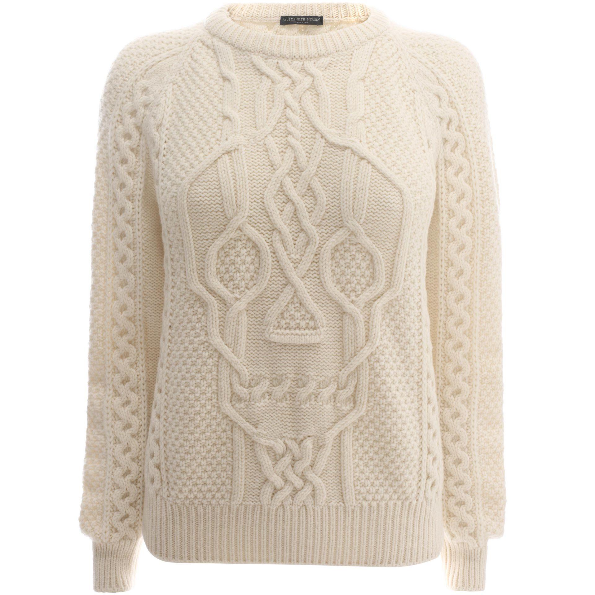 Aran Jumper Dress Knitting Pattern : Alexander mcqueen Aran Skull Knit Jumper in White Lyst