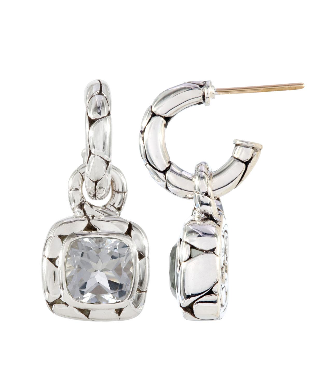 John hardy white topaz square drop hoop earrings in white for John hardy jewelry earrings