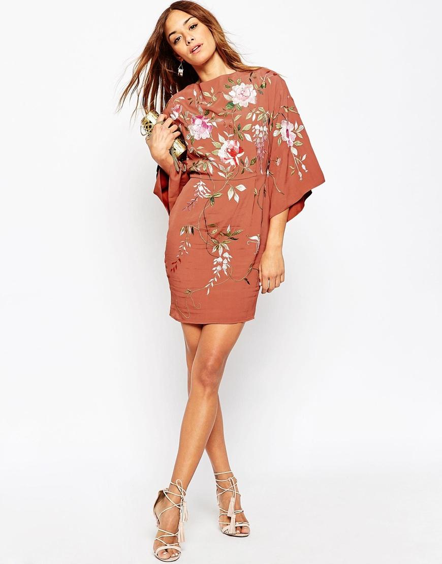 efdff27a76484 ASOS Pink Embroidered Kimono Sleeve Mini Dress