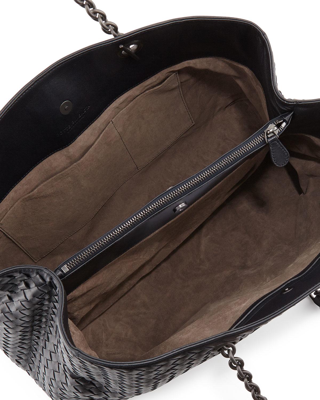 Lyst - Bottega Veneta Intrecciato Double Chain Tote Bag in Blue 5a339dc9f09d5