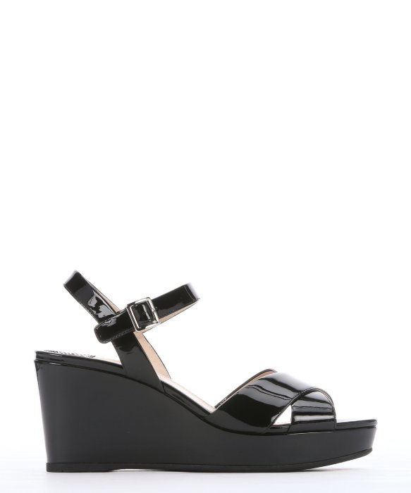 Prada Black Patent Leather Strappy Slingback Wedge Sandals