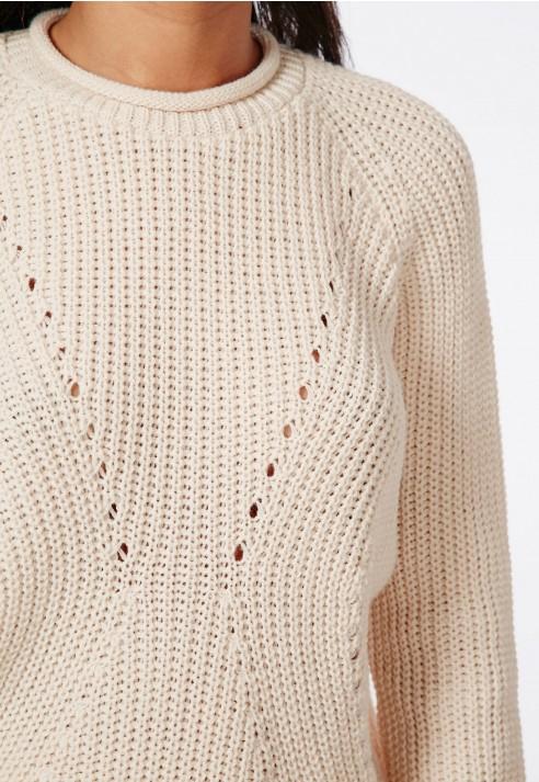 Missguided Stitch Detail Knitted Sweater Vanilla in White (vanilla) Lyst