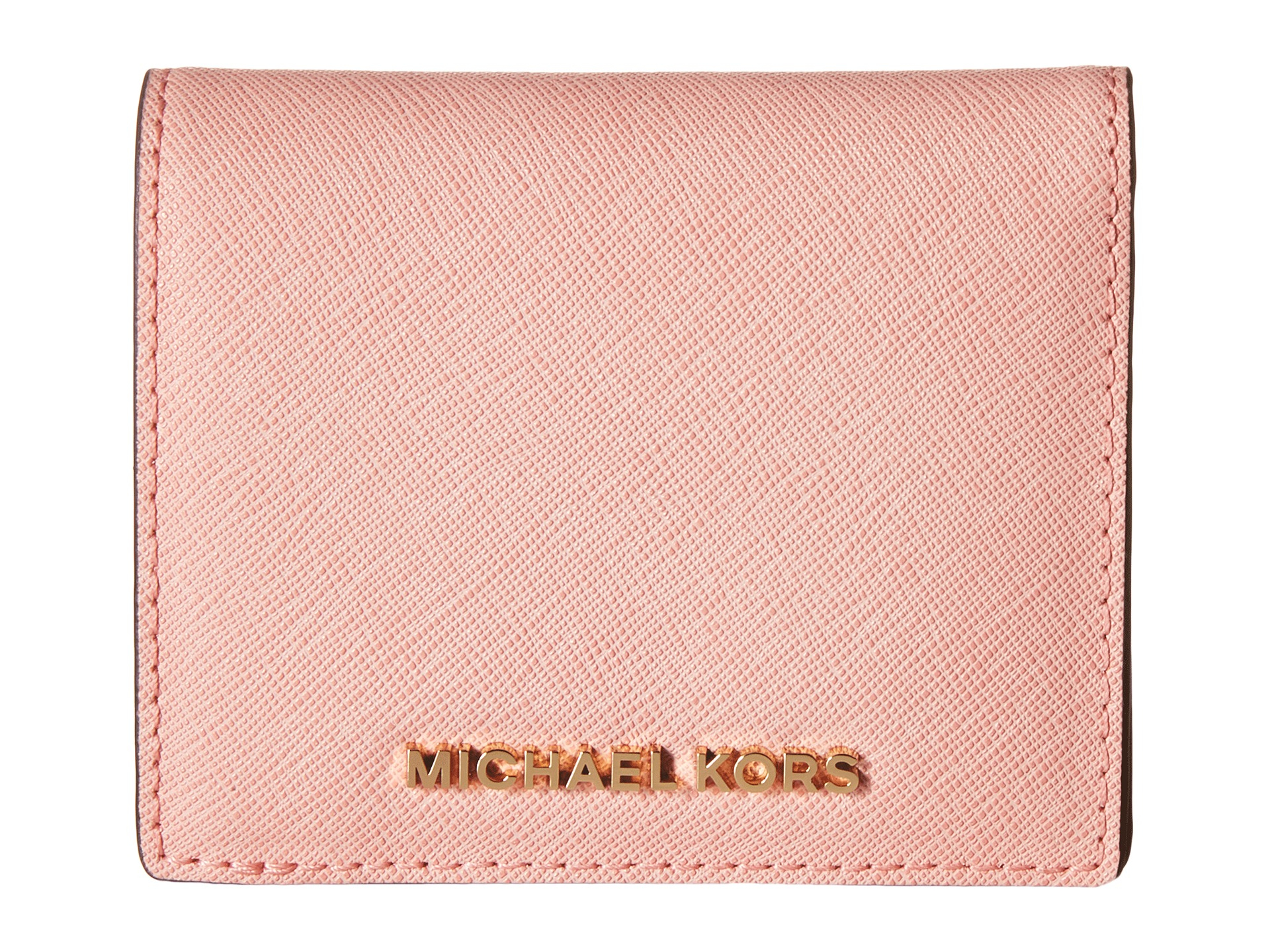 68a863a24a41e Lyst - MICHAEL Michael Kors Jet Set Travel Flap Card Holder in Pink