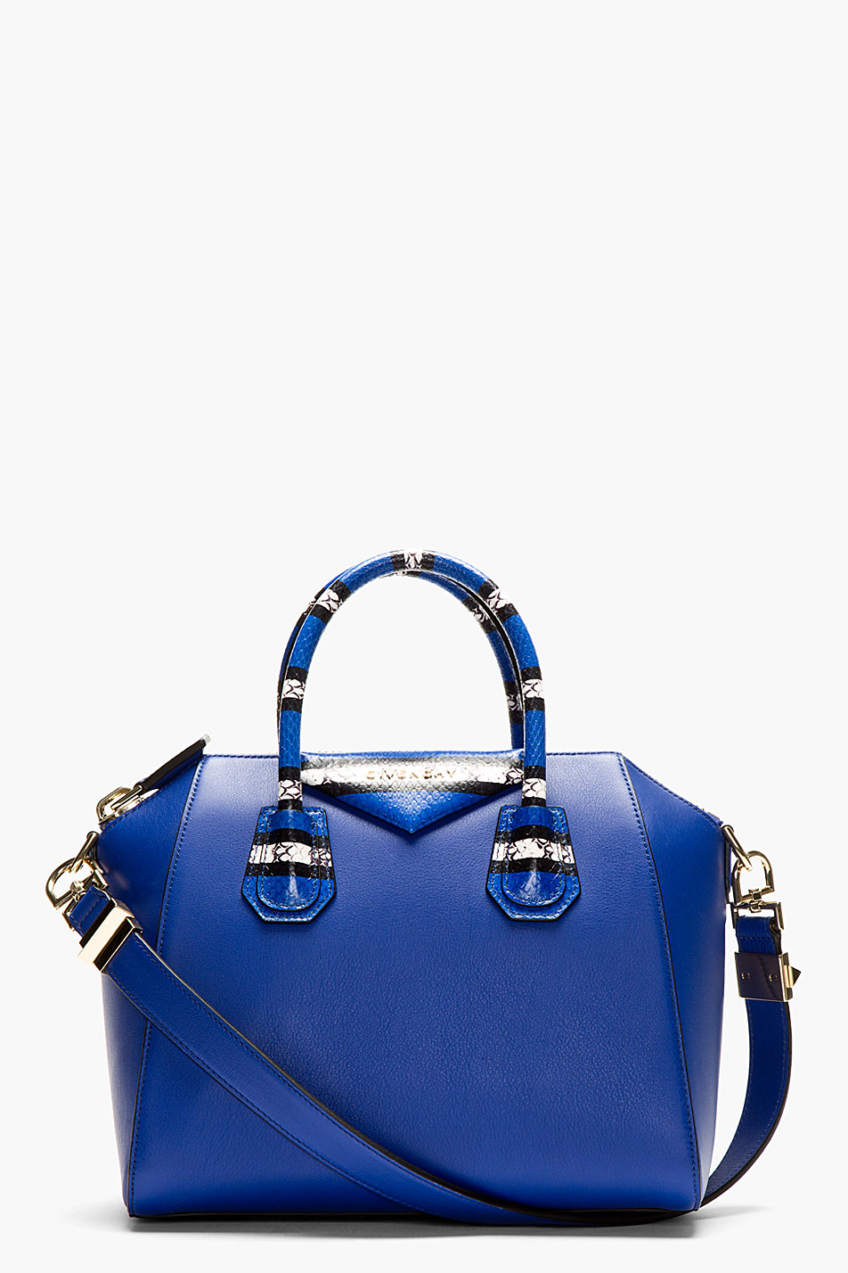 Givenchy Blue Leather Antigona Small Duffle Bag in Blue