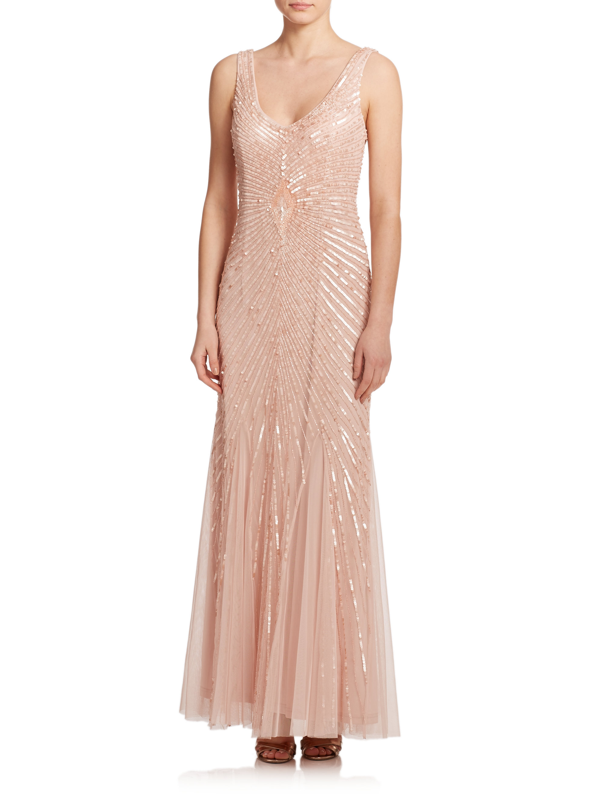 Lyst aidan mattox sequin embellished gown in pink gallery ombrellifo Choice Image