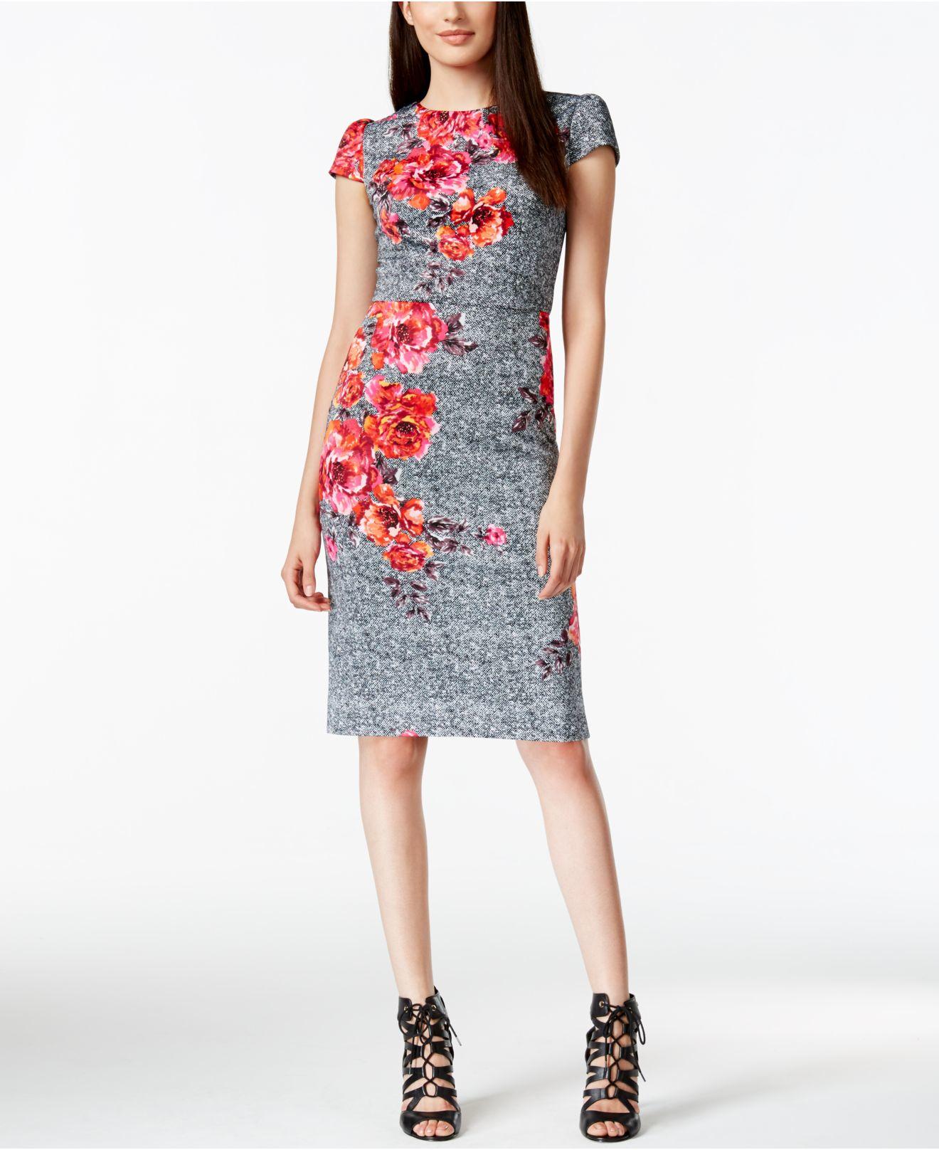 5c3475c849e Betsey Johnson Floral-print Sheath Dress - Lyst