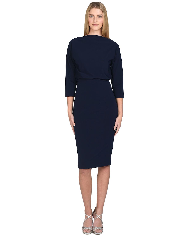 Badgley mischka Stretch-Crepe Sheath Dress in Blue - Lyst