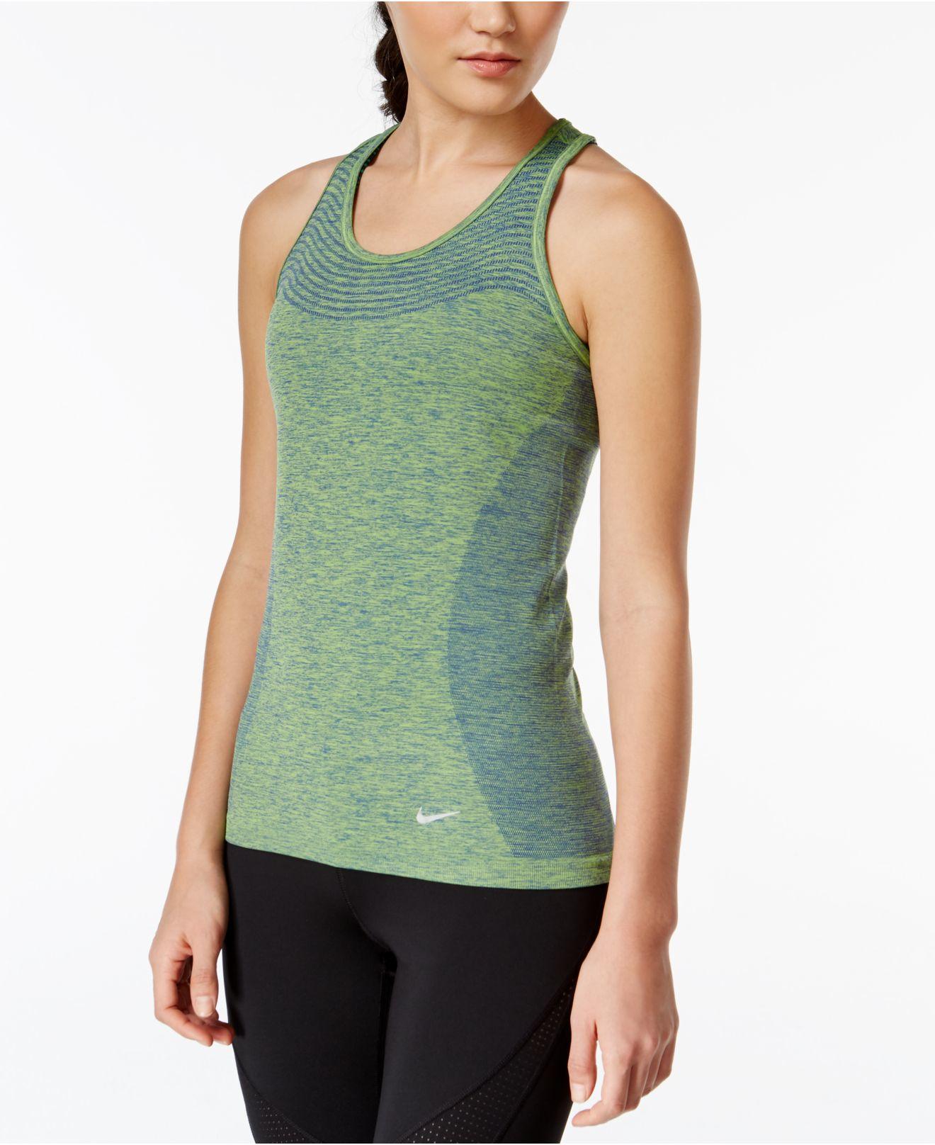 57df5dbeea4360 Lyst - Nike Women s Dri-fit Knit Running Tank Top in Green