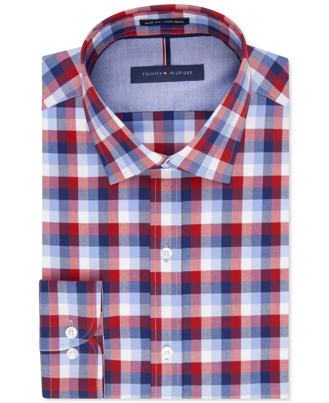 ff58f538c Tommy Hilfiger Slim-fit Non-iron Soft Wash Red And Blue Multi Check ...