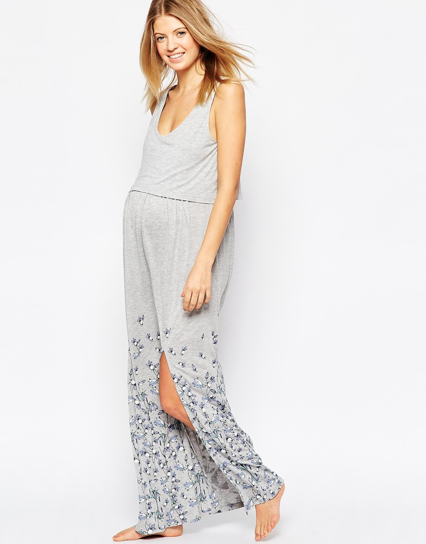 Asos nursing maxi floral nightdress in gray lyst gallery ombrellifo Choice Image