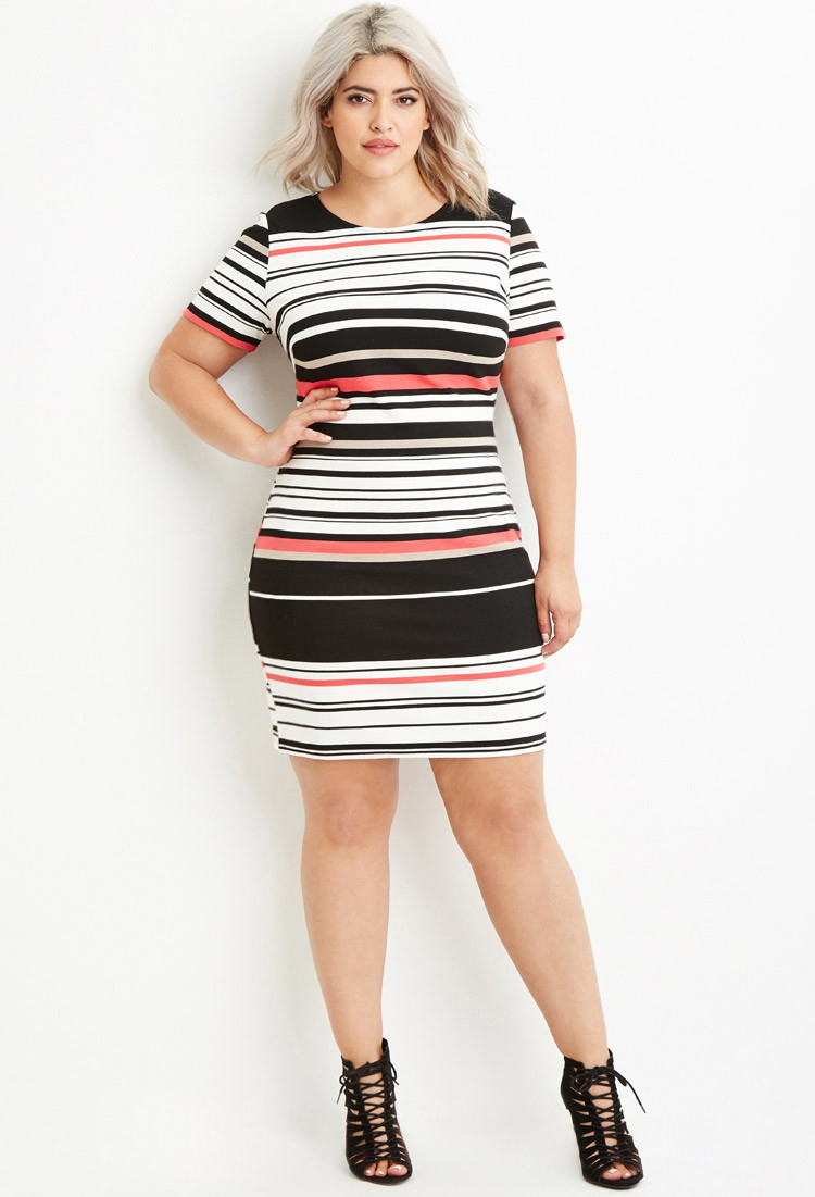 Plus Size Ribbed Knit Stripe Dress You\'ve Been Added To The Waitlist
