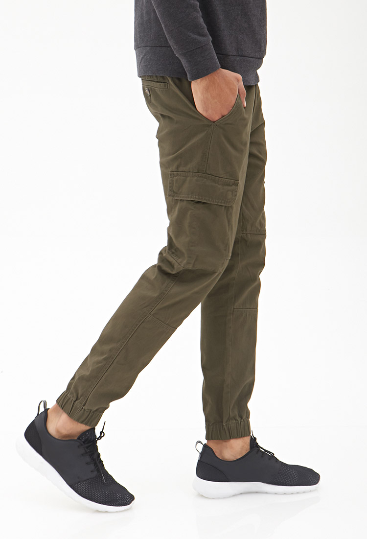 Forever 21 Woven Cargo Joggers in Green for Men