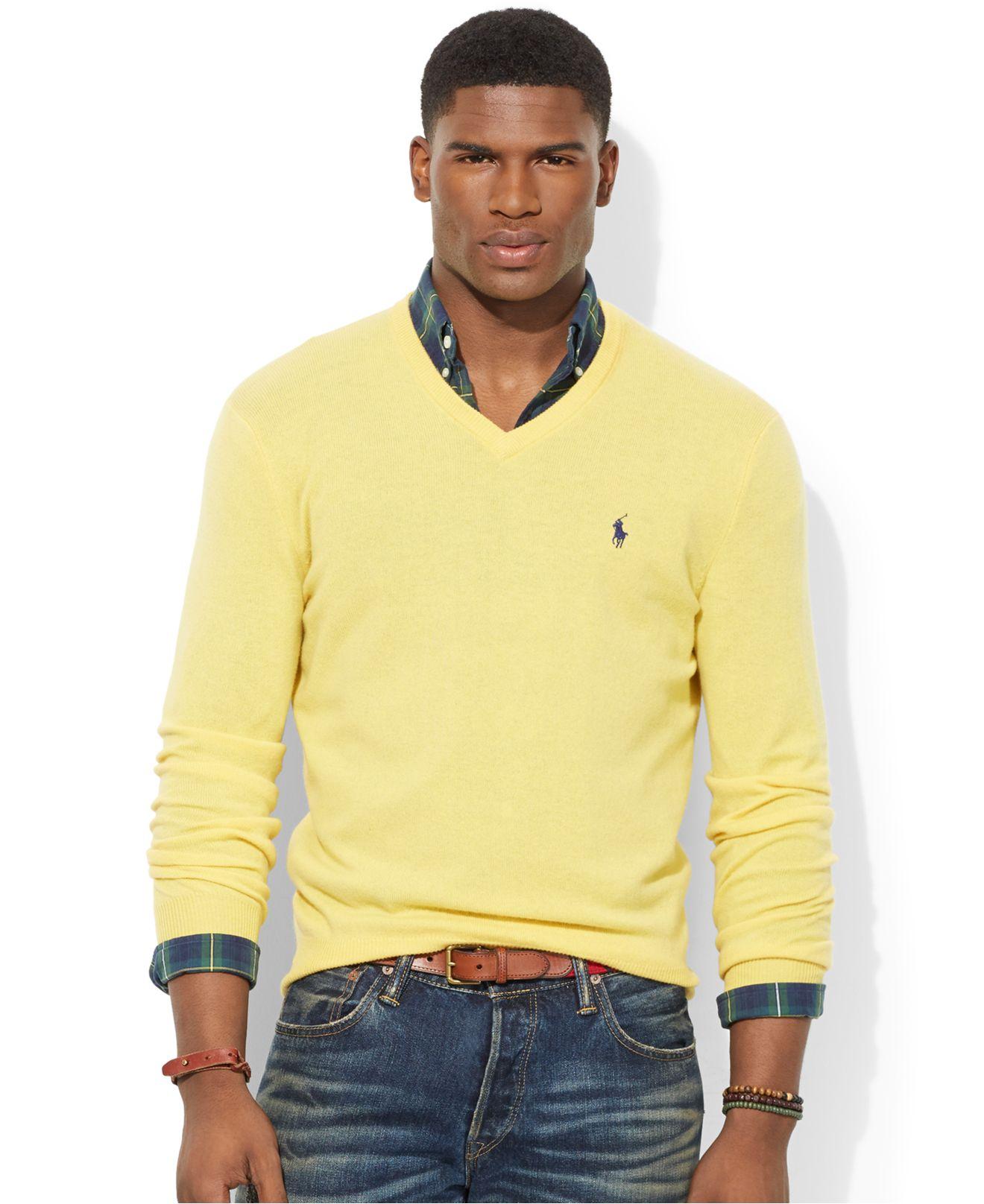 158c0903 Polo Ralph Lauren Yellow Loryelle Merino Wool V-Neck Sweater for men