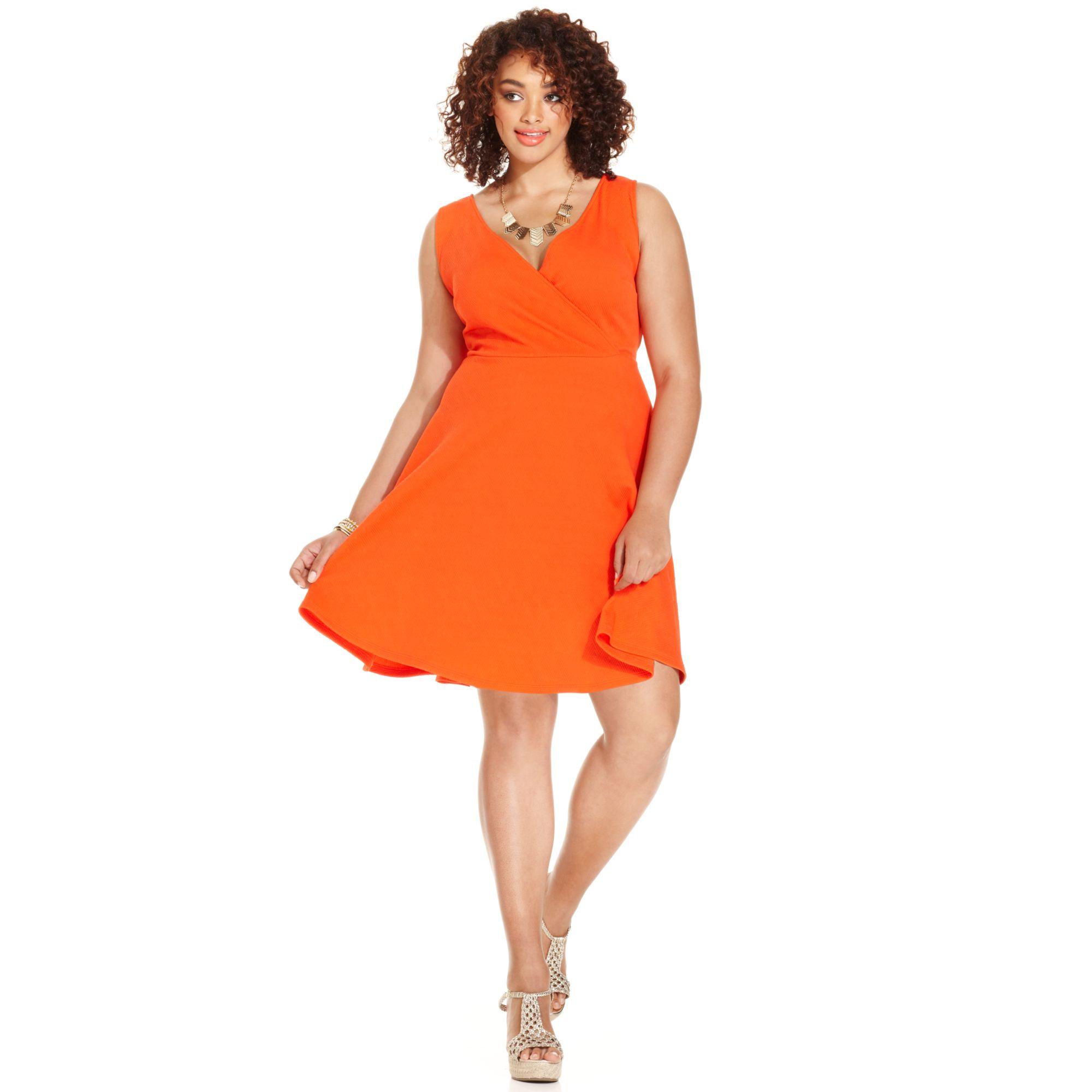 Soprano Orange Plus Size Sleeveless Skater Dress