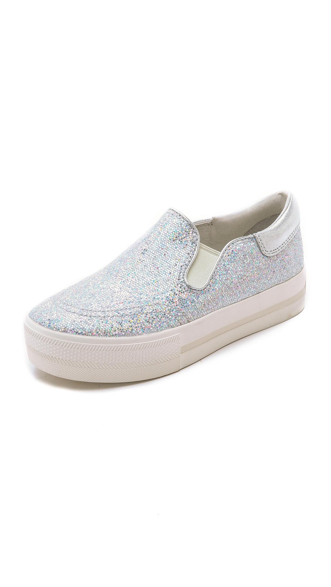 Ash Jam Bis Glitter Slip On Sneakers - Light Silver/Silver in Metallic