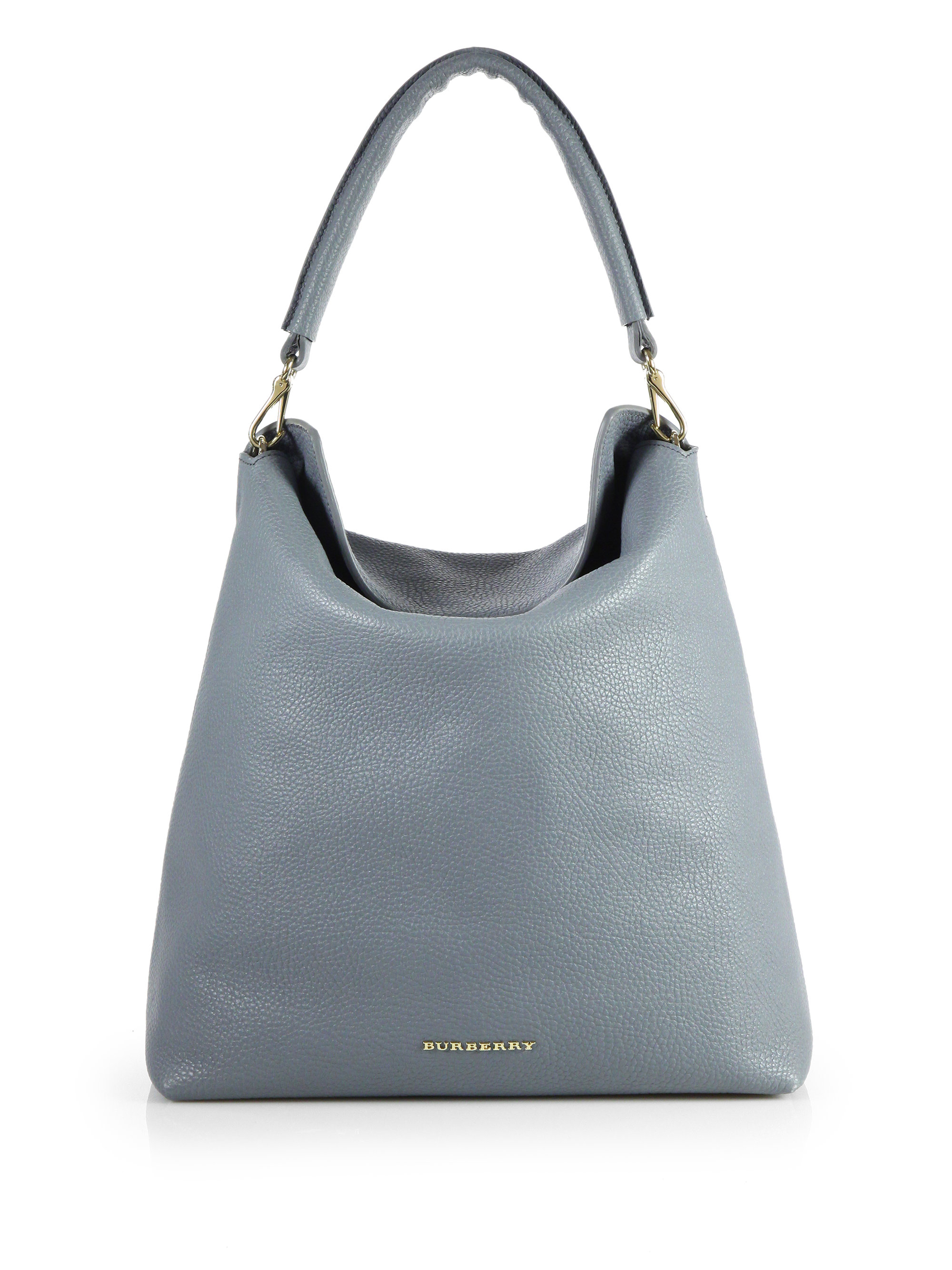 be800c447ac7 Lyst - Burberry Pebble Leather Hobostyle Tote in Gray