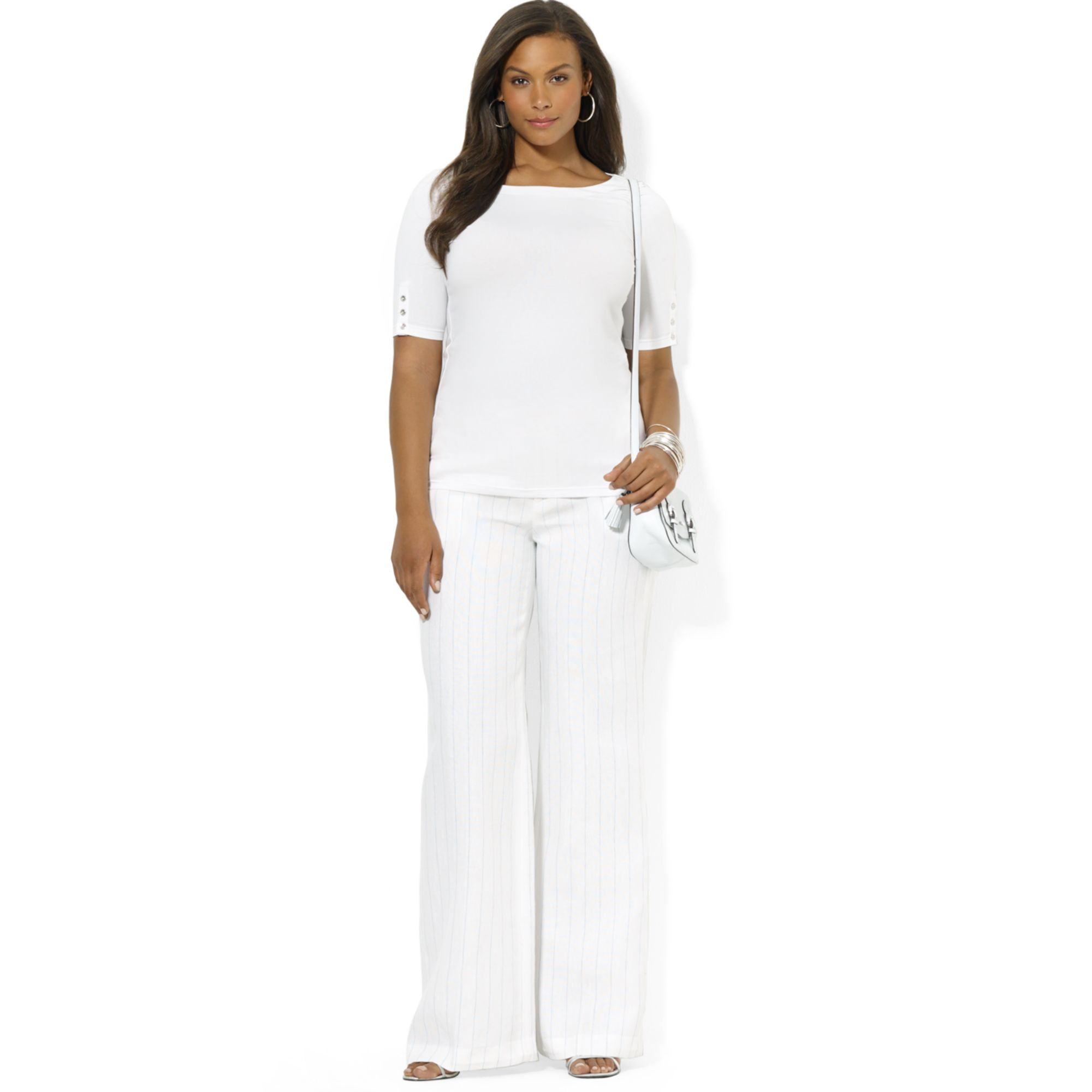 White linen plus size pants