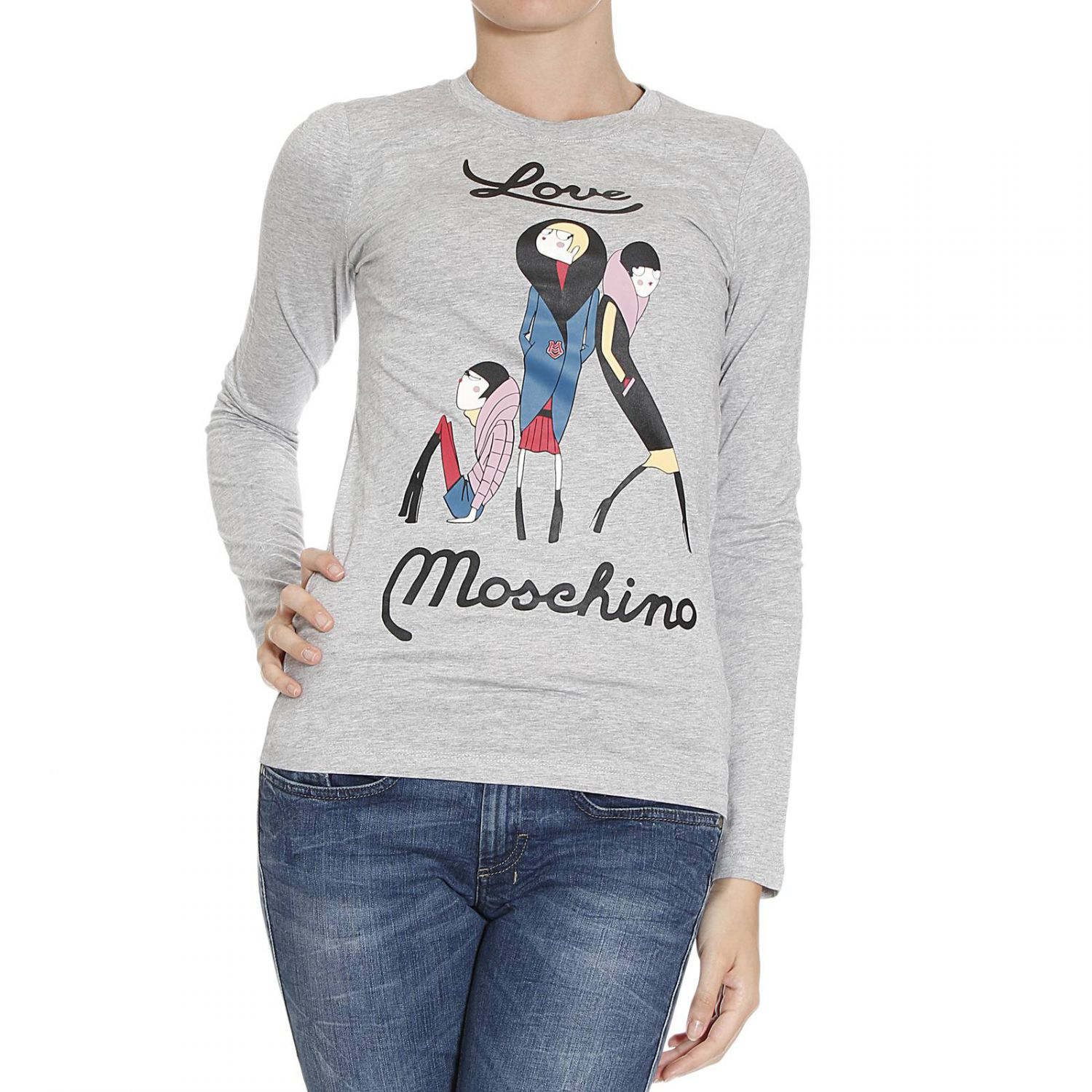 love moschino t shirt in gray grey lyst. Black Bedroom Furniture Sets. Home Design Ideas