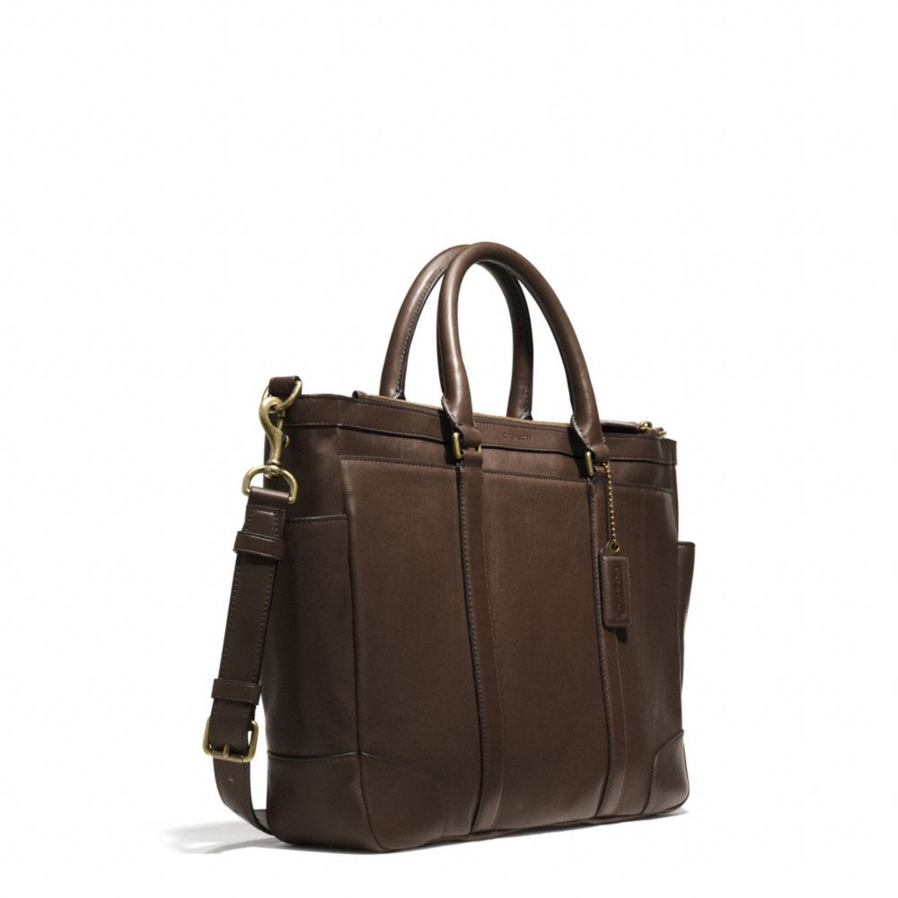 coach bleecker metropolitan bag in leather in brown for