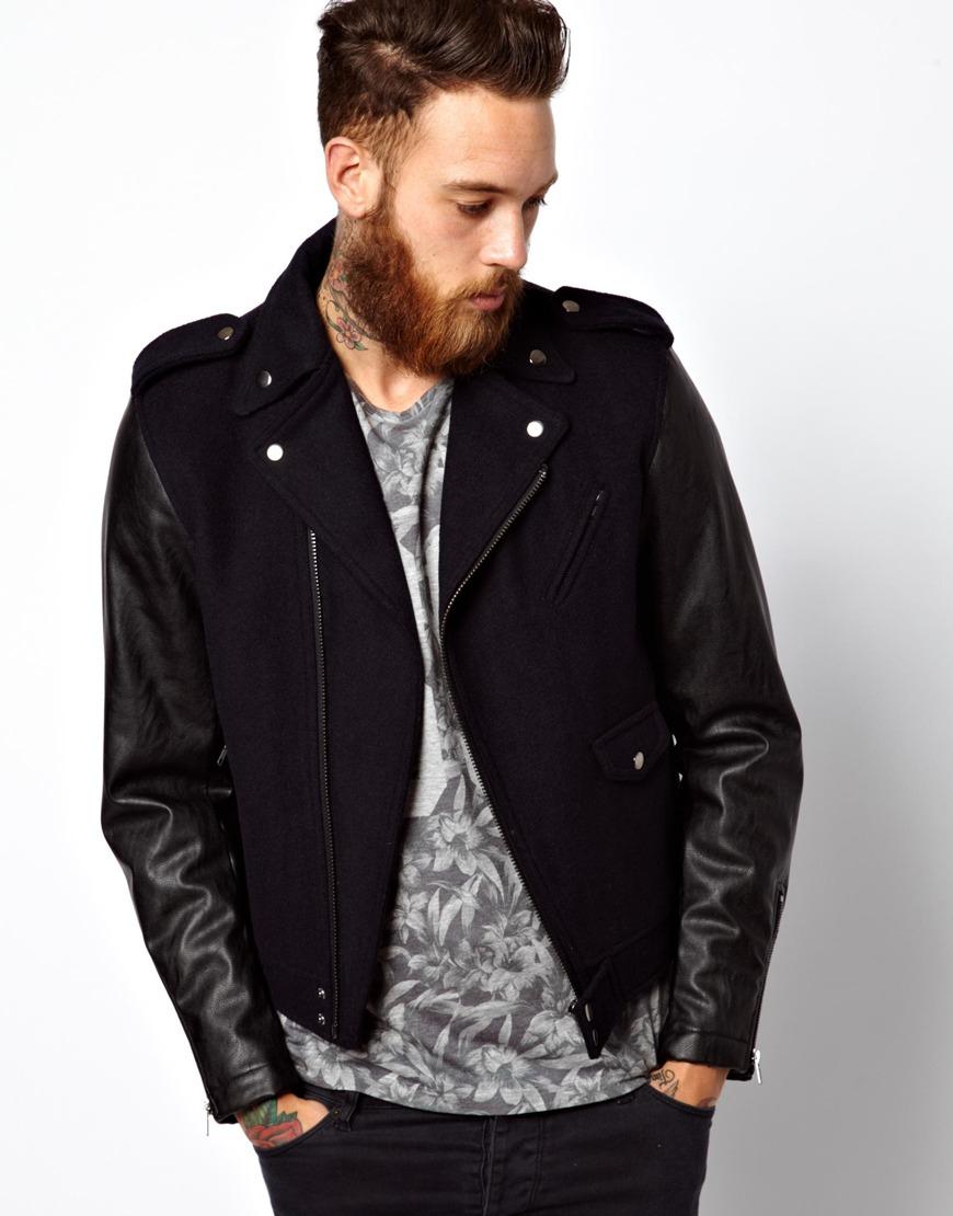 Faux leather biker jacket men