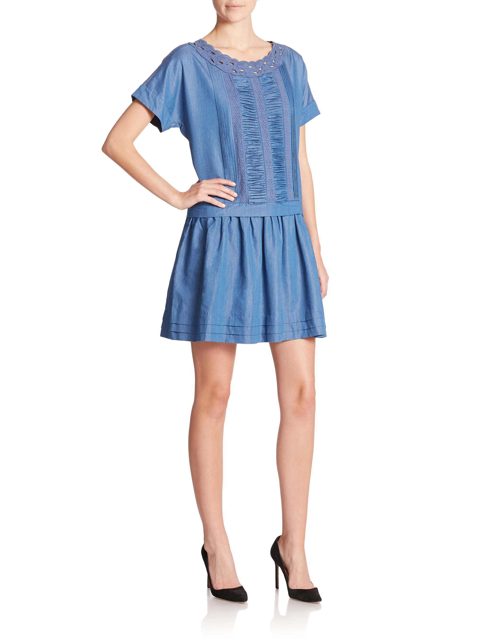 Lyst kate spade new york chambray drop waist dress in blue for Chambray 7 s