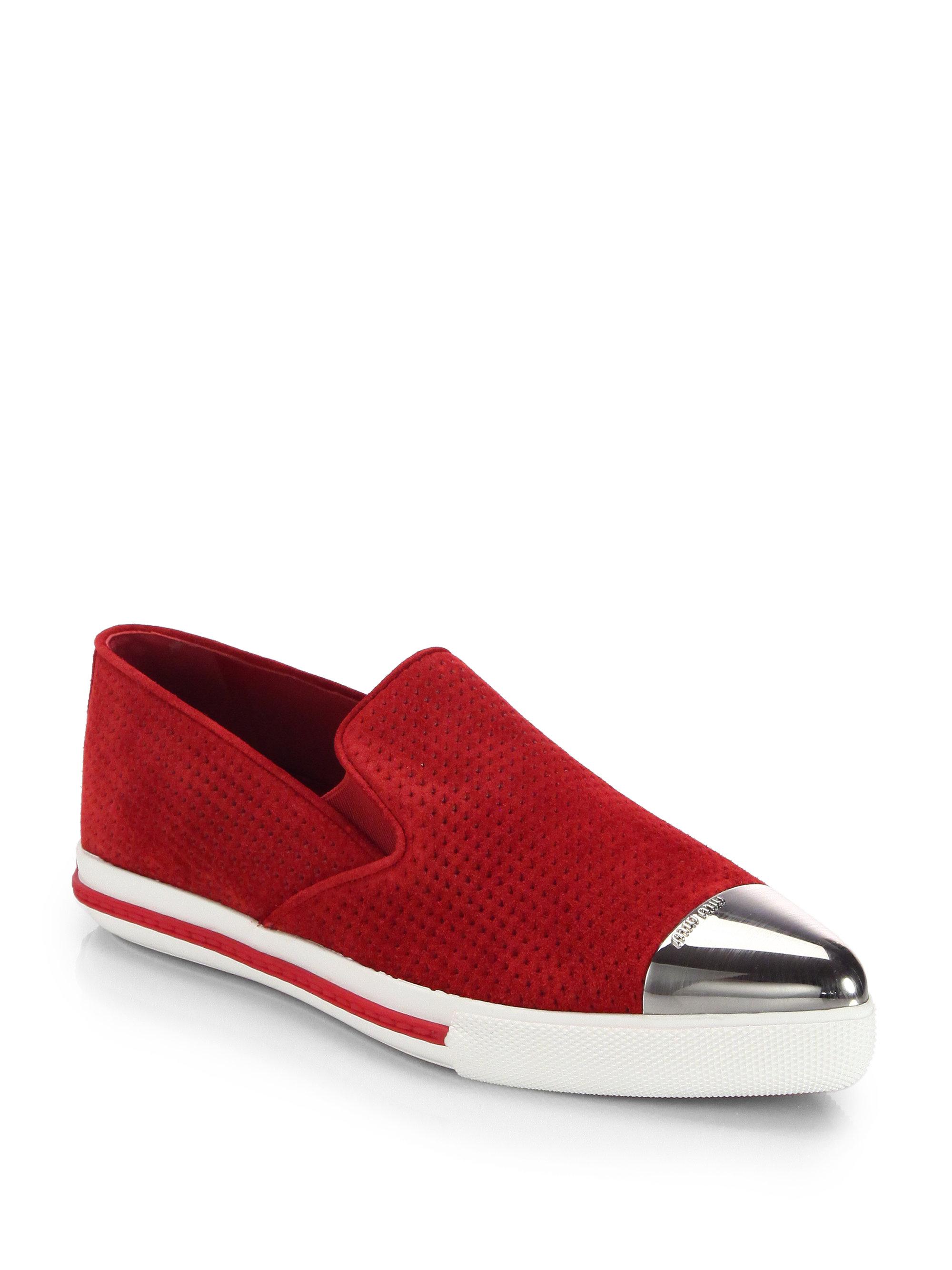 miu miu suede cap toe sneakers in red lyst. Black Bedroom Furniture Sets. Home Design Ideas