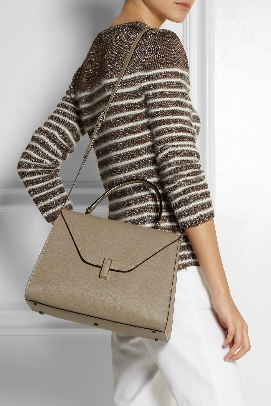 Lyst Valextra Isis Texturedleather Tote In Brown