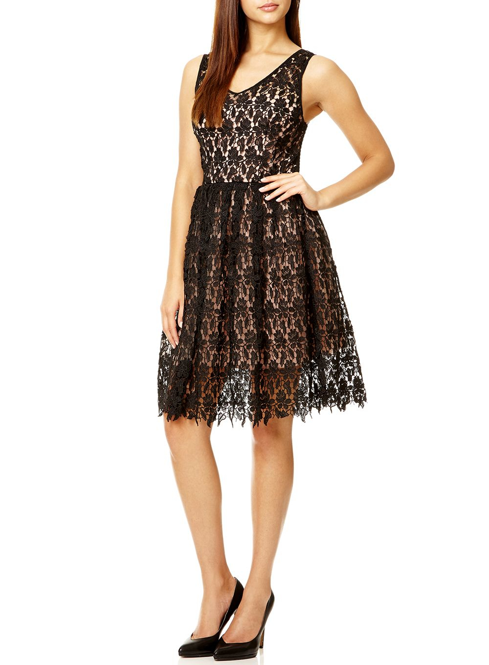 Quiz black crochet v neck dress in black lyst Fashion style quiz pictures