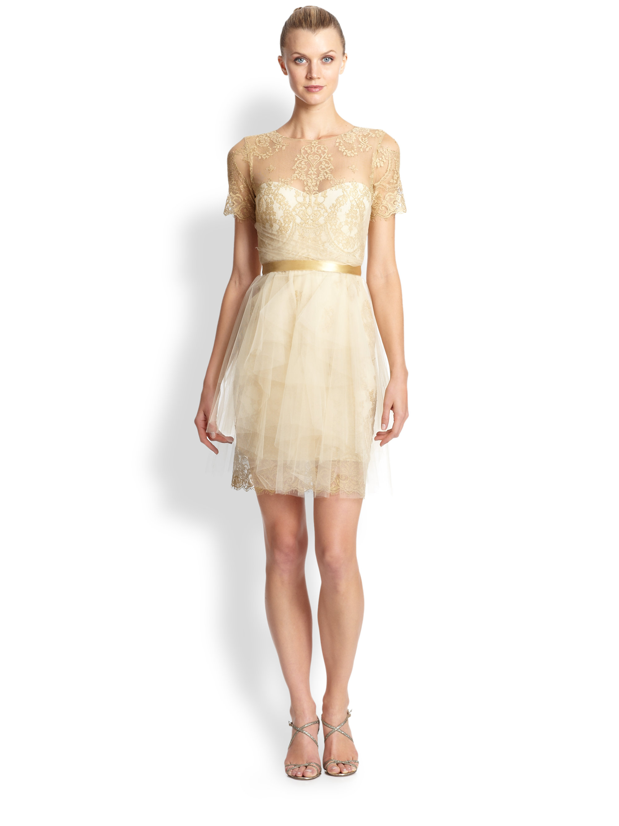Notte by marchesa Metallic Lace &amp Tulle Cocktail Dress in Metallic ...