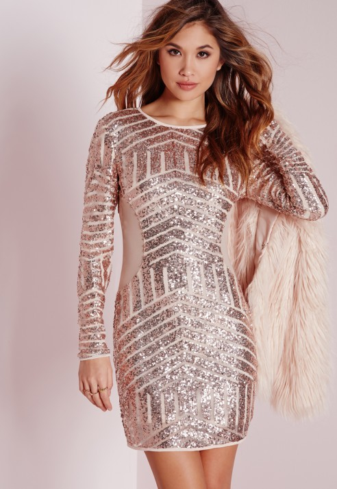 Lyst - Missguided Long Sleeve Sequin Bodycon Dress Rose Gold in Pink 829a15cc5