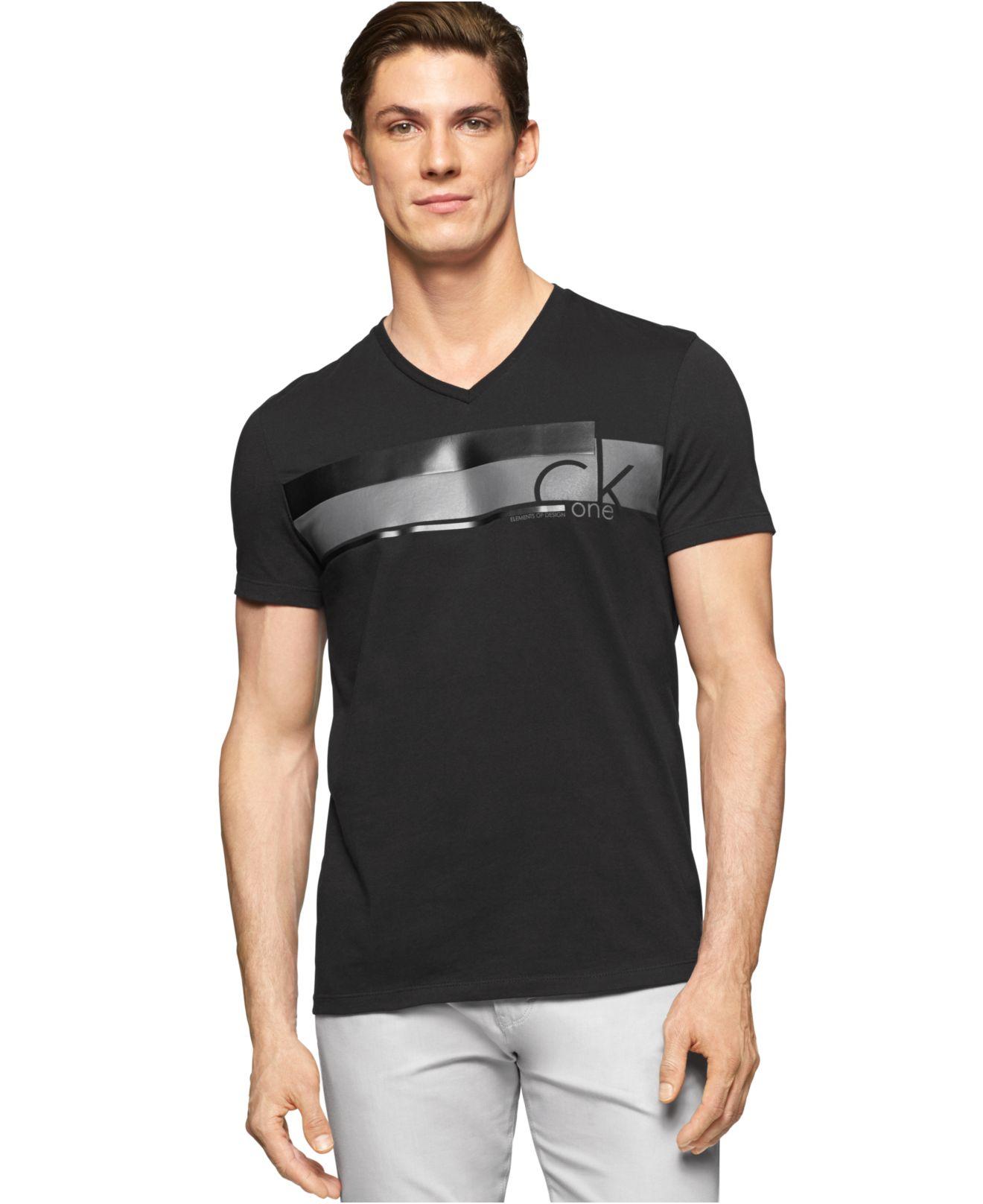 calvin klein v neck slim fit t shirt in black for men lyst. Black Bedroom Furniture Sets. Home Design Ideas